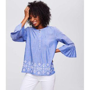 Loft Blue Chambray Embroidered Peplum Sleeve Top